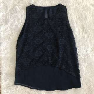 Navy blue floral lace top : Small - M