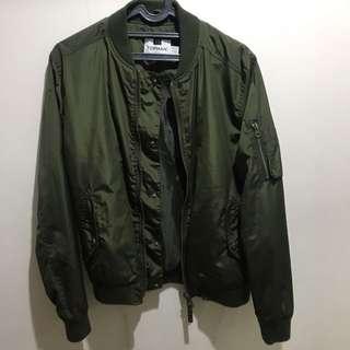 Topman Olive Bomber Jacket size S