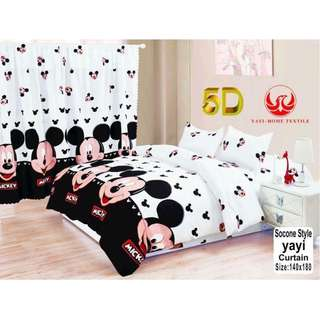 KOREAN COTTON 5in1 BEDSHEET SET with CURTAIN