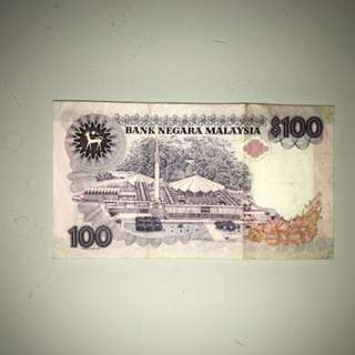 RM100 old bank note
