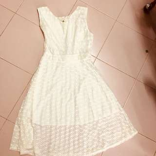 White Lace Dress with Inner