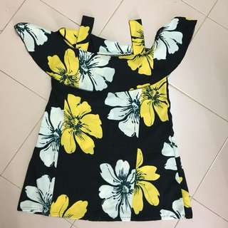 Off shoulder Floral Long Top