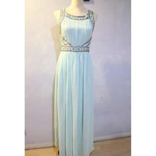 Medium Size Formal Mint Blue Long Dress