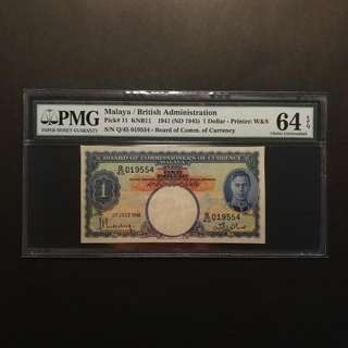 Malaya King George $1 1941 (PMG64 EPQ)