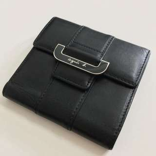 Agnes b 黑色 真皮 銀包 Black Leather Wallet