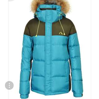 全新 Evisu 羽絨夾棉外套 真毛領 韓國正品 保證真貨 原價199,000won 約HK$1,400 現平賣
