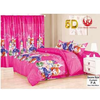 KOREAN COTTON 5in1 BEDSHEET SET with CURTAIN .
