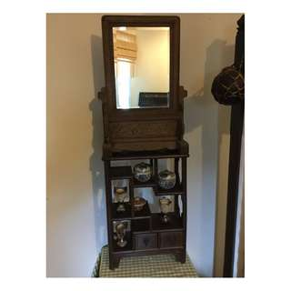 Vintage Table Mirror and Wooden Rack