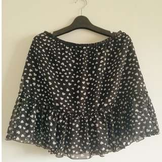 Heart print skirt (black and white)