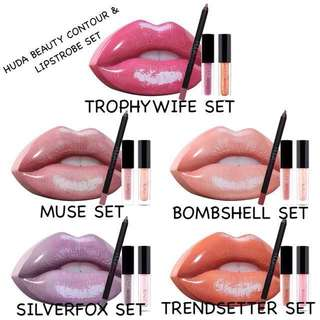 Huda Beauty Contour & Lip Strobe 3 in 1 Set with Ultra covetable Lip-Shaped Tin