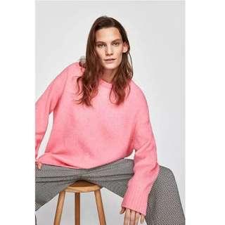 🚚 OshareGirl 01 歐美女士純色圓領寬鬆長版針織毛衣上衣