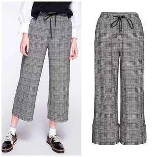 🚚 OshareGirl 01 歐美經典格紋鬆緊腰薄毛呢闊腿褲寬褲