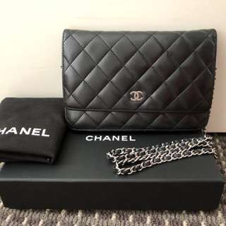 Chanel black classic woc wallet on chain in luscious lambskin 2014