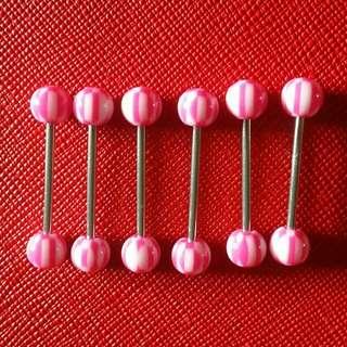 Pink checker tongue barbell
