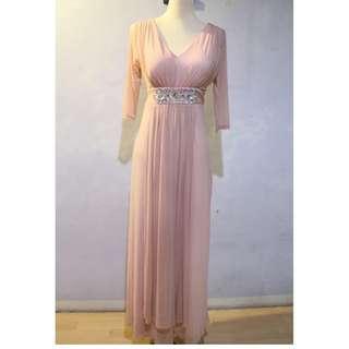 Formal Salmon Pink L-XL Long Dress