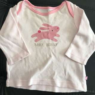 Buy 4 for $12- Mothercare pink bunny long sleeve top - 0-3 months