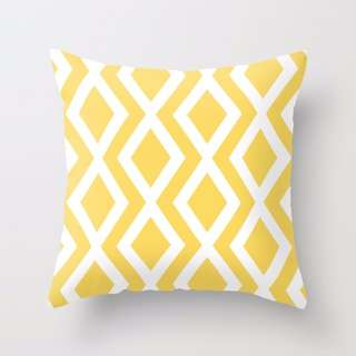 Diamonds (Yellow) Throw Pillow Cushion Cover