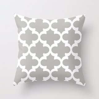 Quatrefoil Pattern (Grey) Throw Pillow Cushion Cover