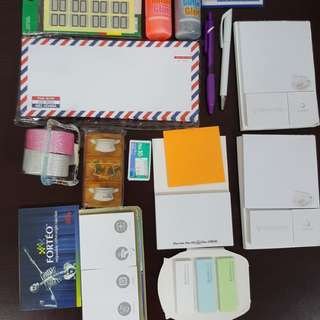 Glitter glue, post-its, envelipes, etc