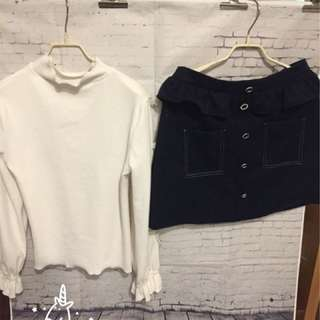 🚚 白色高領蕾絲蝴蝶結上衣+荷葉邊拼接休閒短裙(整套)現貨XL