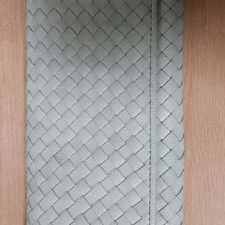 sabrina scala 羊皮 全人手編織 織皮 銀包 real leather