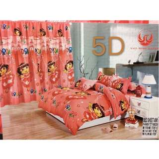 KOREAN COTTON 5in1 BEDSHEET SET with CURTAIN...