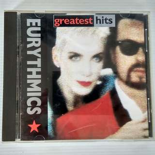 Original CD, Cover, Booklet by the Eurythmics, Greatest Hits, 1991 BMG records, Sweet Dreams are made of these, Who's that girl, Here comes the rain again, There must be an Angel, Would I lie to you