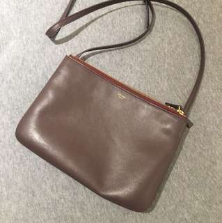 Celine Trio Crossbody Large - Burgundy Color