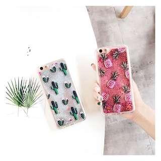 PO(173) Cactus Pineapple Pink Silver Glitter OPPO Phone case