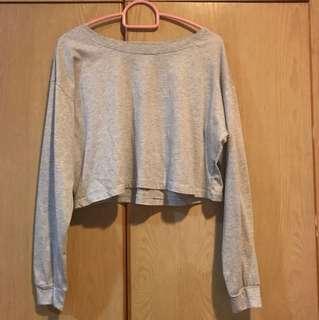 basic heather grey long-sleeved crop top