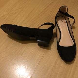 Black Ankle Tie Block Heeled Shoes