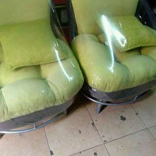 2 green sofa single