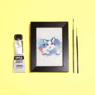 Cat Watercolor Painting with frame