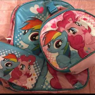 Instock My Little Pony authentic Primary School bag set include lunch box bag and pencil box ht 38cm