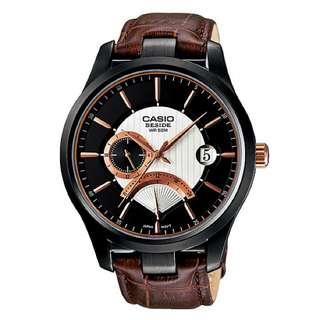 Jam tangan casio beside mens leather BEM-308 WR 50M