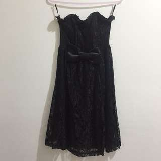 Black lace dress with bow