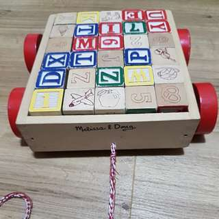 Melissa & Doug Wooden Blocks Wagon