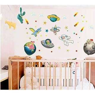 Space Galaxy Glow in the Dark Wall Decal Sticker