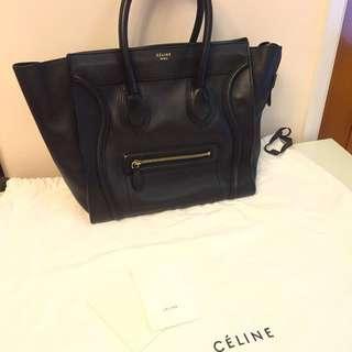 Celine mini luggage 黑金全荔枝牛皮手袋