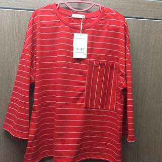 P & Co red blouse