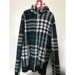 H&M Green White Black Checked Hooded Shirt/ Jacket