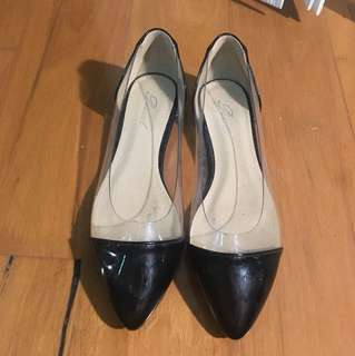 Black and clear dressy flats - size 40