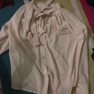 Brand new baby pink / beige pussybow tie neck top blouse