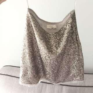 Sequins silver skirt