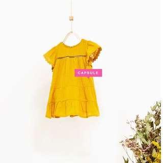 ZARA BABY GIRL Frilled Ochre Dress