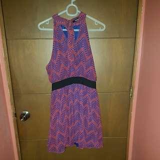 Brand New Forever21 Halter-style dress in Blue/Red Orange