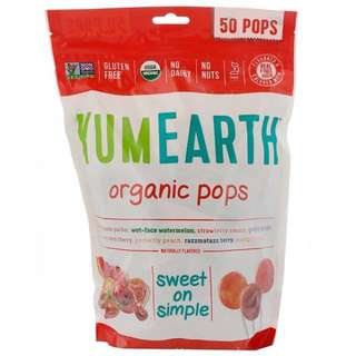 代購美國空運 進口食品 50支 YumEarth水果口味有機棒棒糖 獨立包裝 綜合口味 硬糖 零食 零嘴 年節 年貨