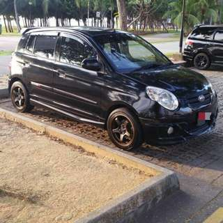 Year 2009 sep kia picanto 1.1 auto black with full body kit speaker , woofer n amplifi