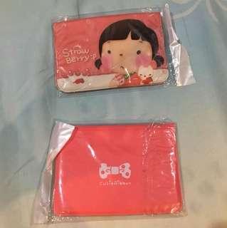 Dompet kartu korean style strawberry and ribbon