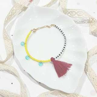 • Festival • Red Tassel • Handmade Colourful Beads & Tassel Bracelet • Asymmetrical • Adjustable Length
